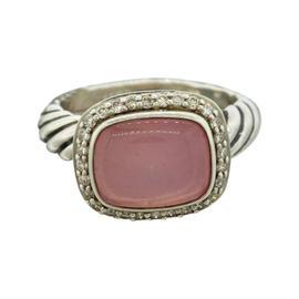 David Yurman Sterling Silver Rose Quartz Cabochon Ring