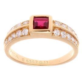 Van Cleef & Arpels 18K Yellow Gold Ruby Diamond Ring