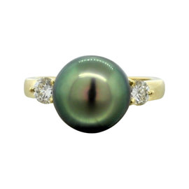 Mikimoto 18K Yellow Gold Tahitian Pearl & 0.44ct Diamond Ring Sz 8