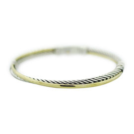 David Yurman 925 Sterling Silver & 18K Yellow Gold Cable Crossover Bracelet