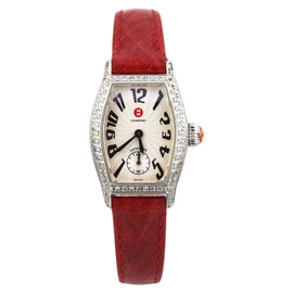 Michele Coquette Stainless Steel Quartz Diamond Bezel Watch