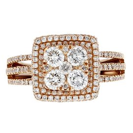 14K Rose Gold & 1.43ct Diamond Engagement Ring Sz 7