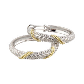 Judith Ripka Sterling-Silver & Gold Tone Cable Hoop Earrings
