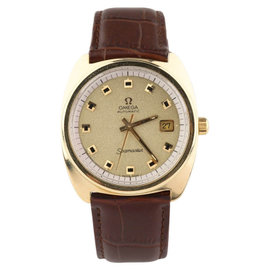 Omega Seamaster Gold-Plated Automatic Brown Leather Band Vintage Mens Watch