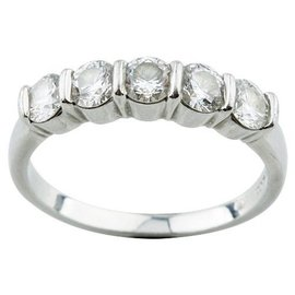 Tiffany & Co. Platinum Five Diamond Ring Size 7