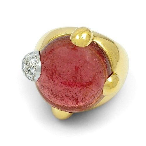 """""Pomellato Griffe 18k Yellow Gold Pink Tourmaline Diamond Ring Size 6.5"""""" 799137"