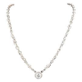 18K White Gold 1.00ct Diamond Solitaire Pendant Necklace