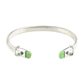 925 Sterling Silver Green Stone Accents Cable Cuff 7