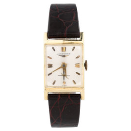 Longines 14K Yellow Gold Hand-Winding With Black Leather Band Vintage Mens Watch
