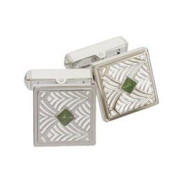 Cartier 925 Sterling Silver Belle Epoque Nephrite Design Cufflinks