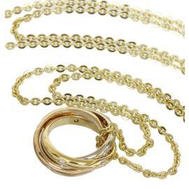 Cartier 18K Tri-Color Gold Trinity Diamonds Pendant Necklace