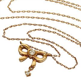 10K Rose Gold Ribbon Diamond Design Pendant Necklace