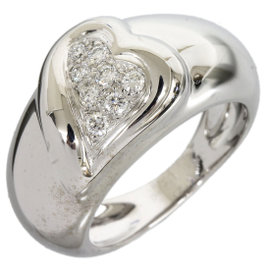 Boucheron 18K White Gold Diamond Heart Ring