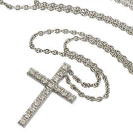 De Beers 18K White Gold & Diamonds Cross Pendant Necklace