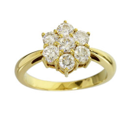 Mikimoto 18K Yellow Gold 0.72ct Diamond Flower Band Ring 4.25