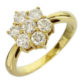 Mikimoto 18K Yellow Gold 0.72ct Diamond Flower Band Ring 4.25