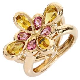 Rugiada 18K Rose Gold Tourmaline Citrine Flower Motif Ring