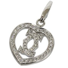 Cartier 18K White Gold Double C Heart Pave Diamond Charm