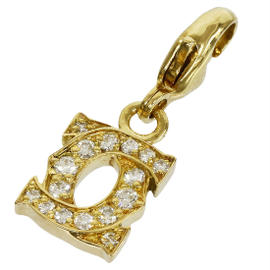 Cartier 18K Yellow Gold Pave Diamonds Double C Baby Charm Pendant