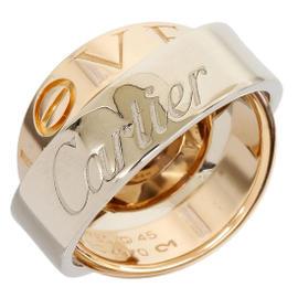 Cartier 18K White & Rose Gold Secret Love Pendant Ring Size 3.25