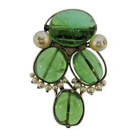 Seaman Schepps 14K White Gold With Cabochon Emerald & Pearl Clip Brooch