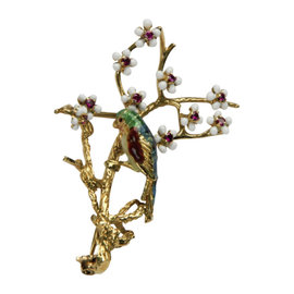 18K Yellow Gold Enamel Parrot and Gemstone Brooch