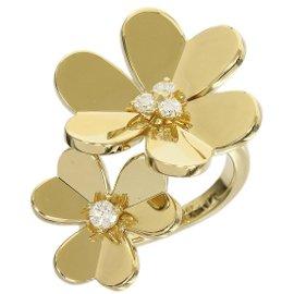 Van Cleef & Arpels 18k Yellow Gold Diamond Frivole Ring Size 5