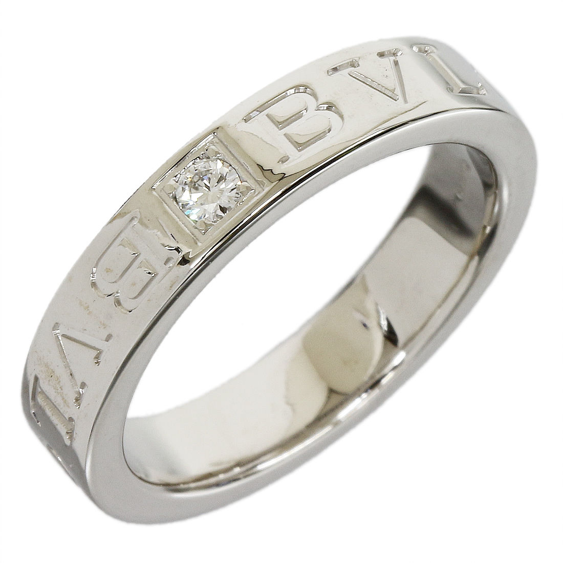 "Image of ""Bulgari 18K White Gold 1P Diamond Ring Sz 5"""