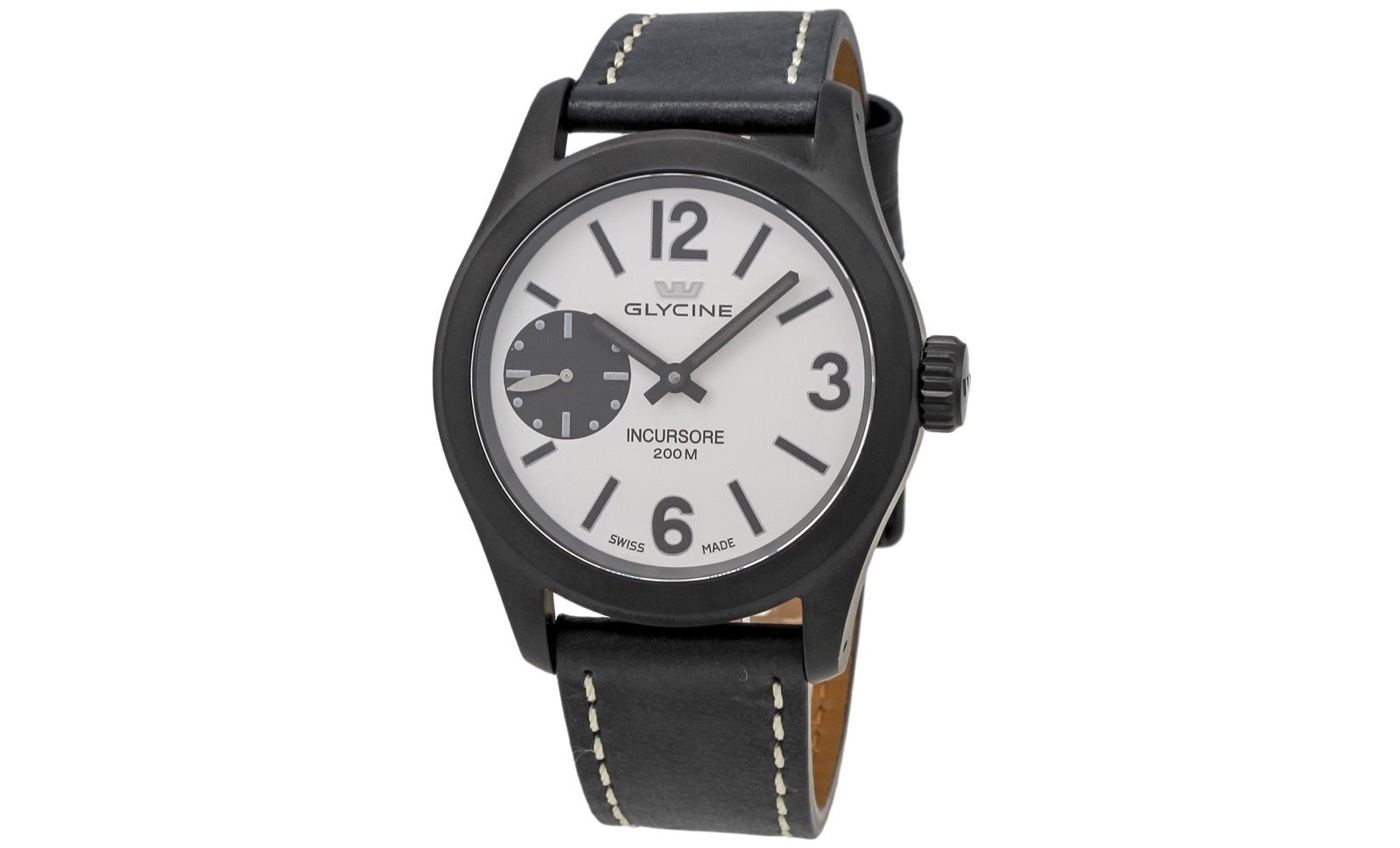 "Image of ""Glycine 3873.91 Lb9B Incursore Black Leather Strap Swiss Manual Mens"""