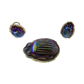 Tiffany & Co. Sterling Silver & Favrile Glass Burgundy Scarab Earrings And Brooch