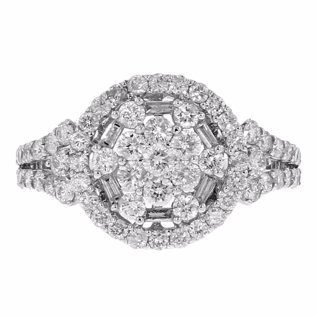 "Image of ""14K White Gold & 1.00ct Round Cut Diamond Round Ring"""