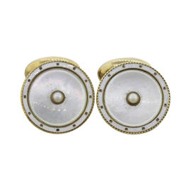 14K Yellow Gold Mother of Pearl Cufflinks
