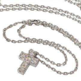 Van Cleef & Arpels 18K White Gold Mini Cross Diamonds Necklace