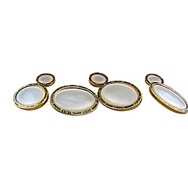 14K Yellow Gold Mother of Pearl & Enamel Cufflinks and Stud Set