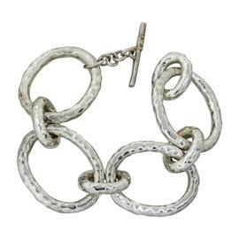 Ippolita Glamazon Sterling Silver Hammered Bastille Link Chain Bracelet