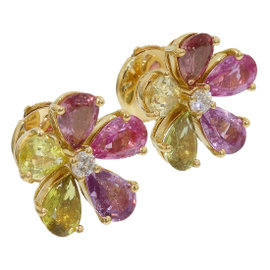 Bulgari 18K Yellow Gold Diamonds & Multi Color Stone Flower Earrings