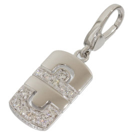 Bulgari Bvlgari 18K White Gold Parentesi Diamond Pendant Top Charm