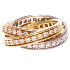 Cartier Trinity 18K White,Yellow and Rose Gold 1.50 Ct Diamond Ring Size 5