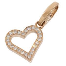 Cartier 18K Rose Gold Paved Diamond Open Heart Motif Charm Pendant