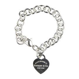 Tiffany & Co. Sterling Silver Return to Heart Charm Pendant Bracelet