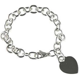 Tiffany & Co. Sterling Silver Blank Heart Tag Charm Bracelet