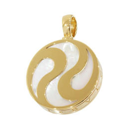 Bulgari 18K Yellow Gold Allegra Optical Shell Necklace Charm / Pendant Top