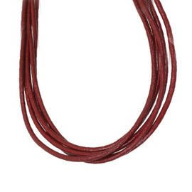 Bulgari 18K Yellow Gold Red Leather Clasp Necklace Choker