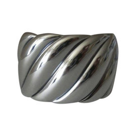 David Yurman Cable Sterling Silver Wide Sculpted Cuff Bracelet