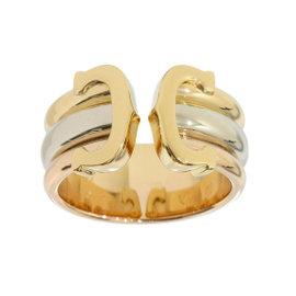 Cartier 18K 3-Gold Double C Decor Ring Size 4.75