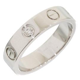 Cartier Mini Love 18K White Gold Diamond Ring Size 3.5