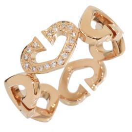 Cartier C Heart 18K Rose Gold Diamonds Ring Size 8