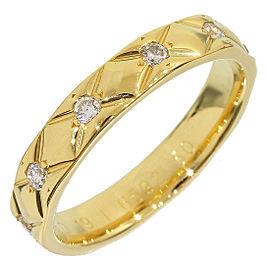 Chanel 18K Yellow Gold & Diamond Matelasse Ring Size 5.5