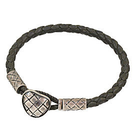 Bottega Veneta Intrecciato Sterling Sliver Leather Bracelet