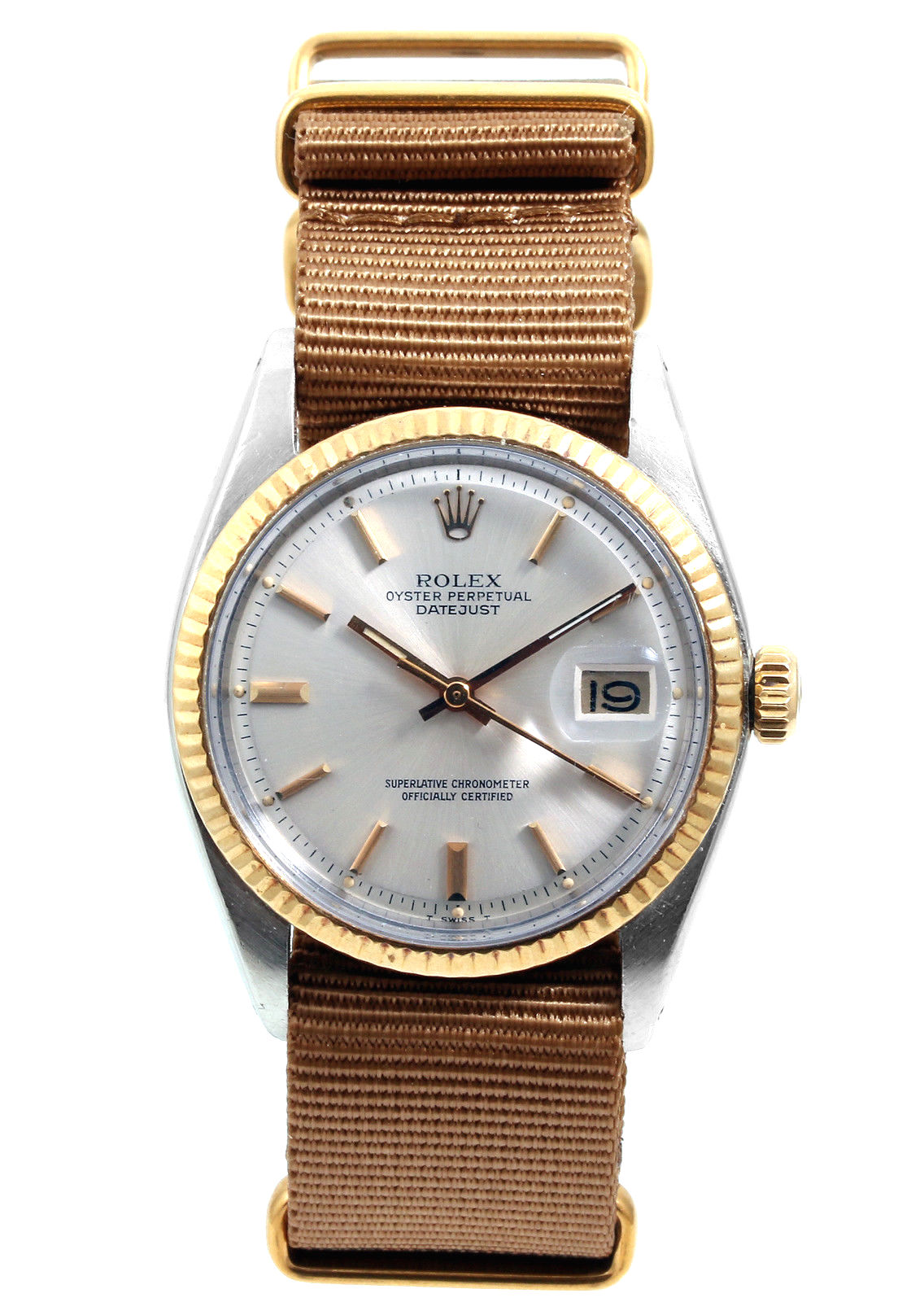 "Image of ""Rolex Datejust 18K White Gold & Stainless Steel Silver Pie Pan Dial"""